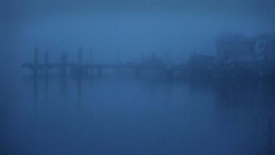 Steg im blauen Nebel