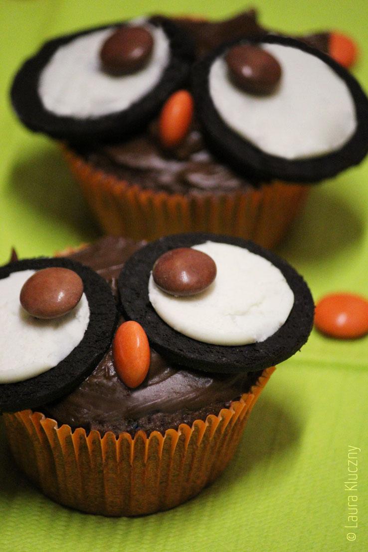 Schokoladige Eulen-Cupcakes