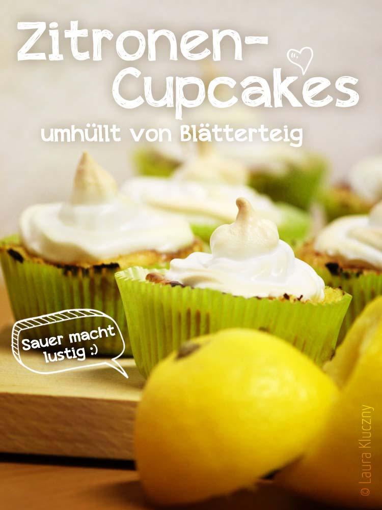 Zitronen-Cupcakes umhüllt von Blätterteig