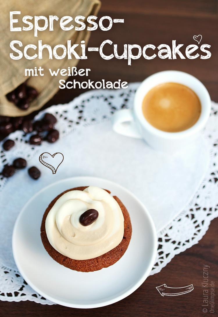 Espresso-Schoki-Cupcakes mit Frosting aus weißer Schokolade – mit Rezept