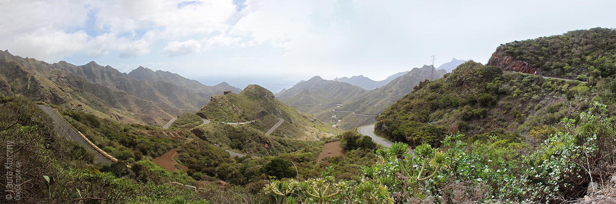 Anagagebirge mit den kurvigen Serpentinen - Panorama