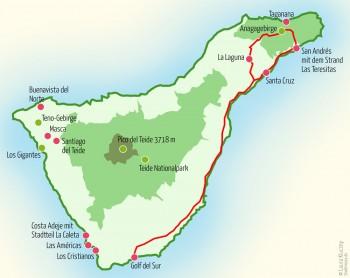 Landkarte Teneriffa – Tour Eins