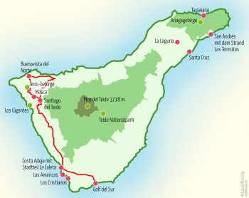 Landkarte Teneriffa – Tour Zwei