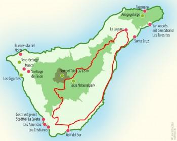 Landkarte Teneriffa – Tour Drei