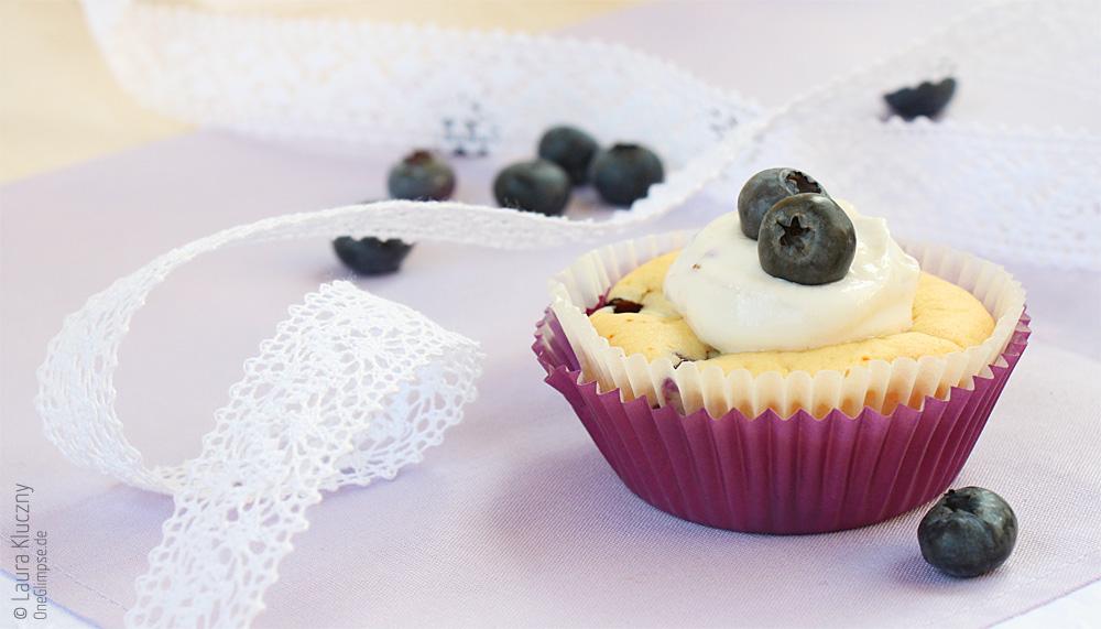 Heidelbeer-Honig-Joghurt-Cupcakes mit Quark, mit Rezept