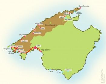 Mallorca-Karte mit eingezeichneter Route über Sant Elm und Palma