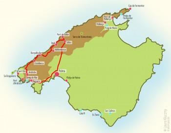 Mallorca-Karte mit eingezeichneter Route: Estellence, Banyalbufar, Valldemossa, Deia und Soller/Port de Soller