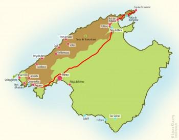 Mallorca-Karte mit eingezeichneter Route Richtung Cap de Formentor über Pollenca