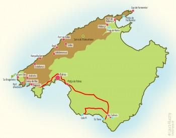 Mallorca-Karte mit eingezeichneter Route Richtung Ses Salines über den Strand Es Trenc zum Strand Cala Pi