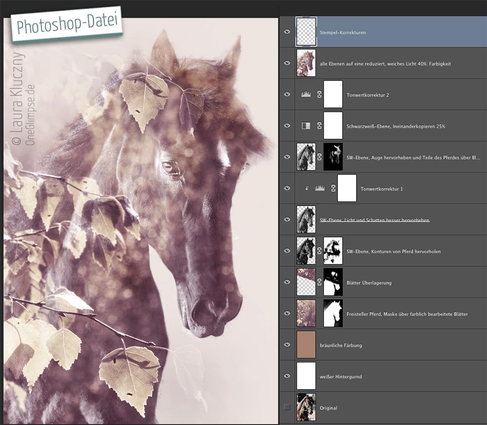 """Photoshop-Datei mit einzelnen Ebenen zu """"Majestätisch: Pferd"""""""