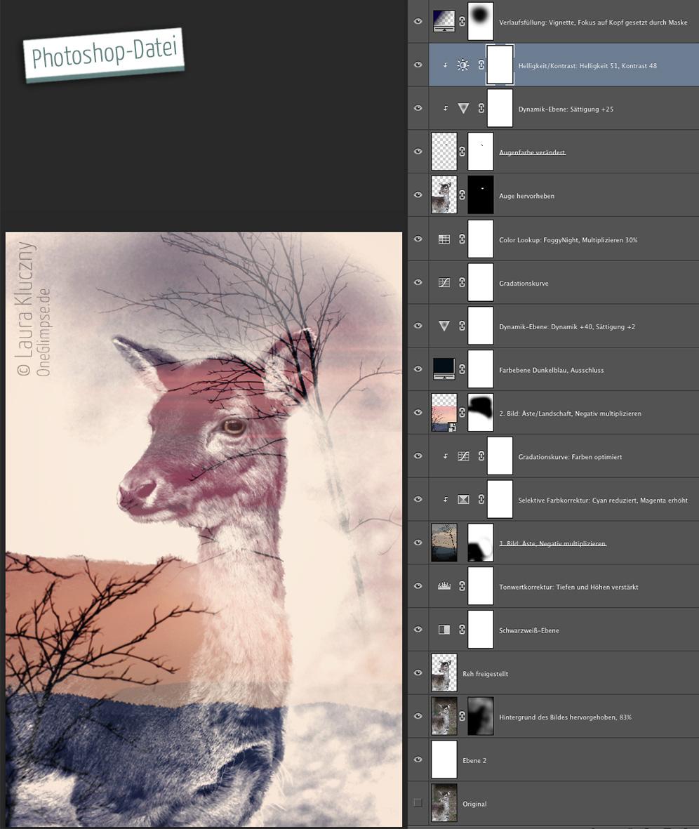 """Photoshop-Datei mit einzelnen Ebenen zu """"Verträumt: Reh"""""""