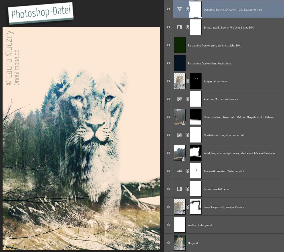 """Photoshop-Datei mit einzelnen Ebenen zu """"Stärke und Ruhe: Löwe"""""""