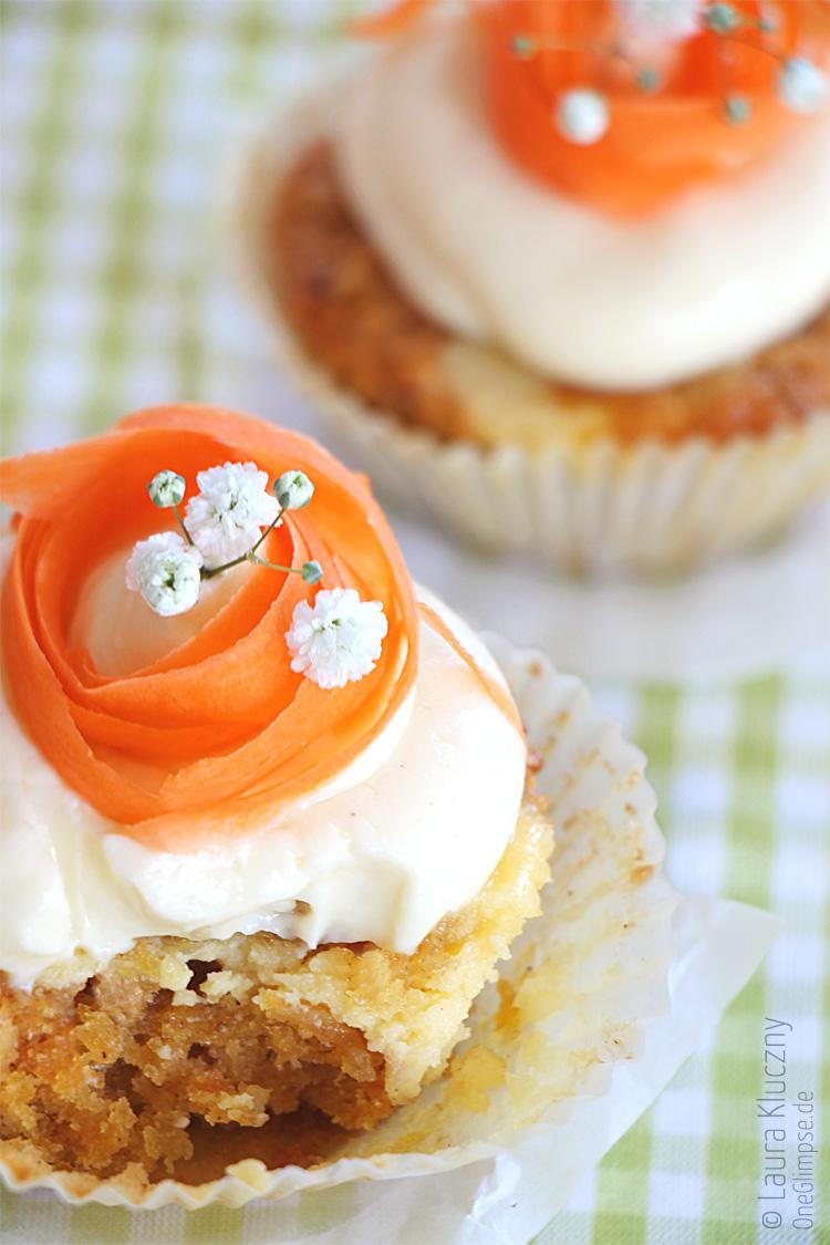 Möhren-Cheesecake-Cupcakes mit weißer Schokolade, lecker zu Ostern :)