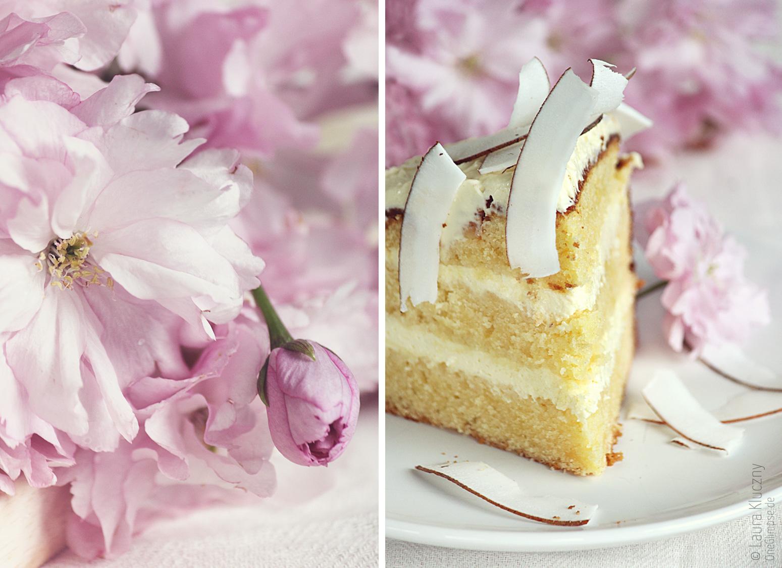 Sommerliche Maracuja-Zitronen-Torte und als Dekoration die japanische Nelkenkirsche