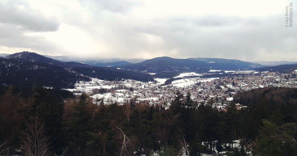 Mitterfirmiansreut: Blick auf die tschechische Seite auf den Bayrischen Wald/Sumava-Nationalpark