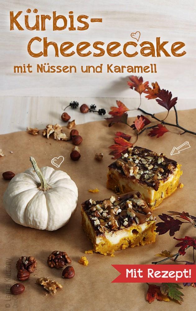 Kürbis-Cheesecake mit Nüssen und Karamell