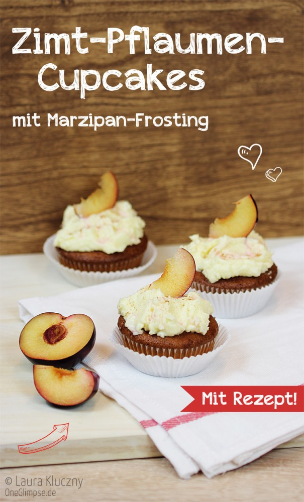 Zimt-Pflaumen-Cupcakes mit Marzipan-Frosting