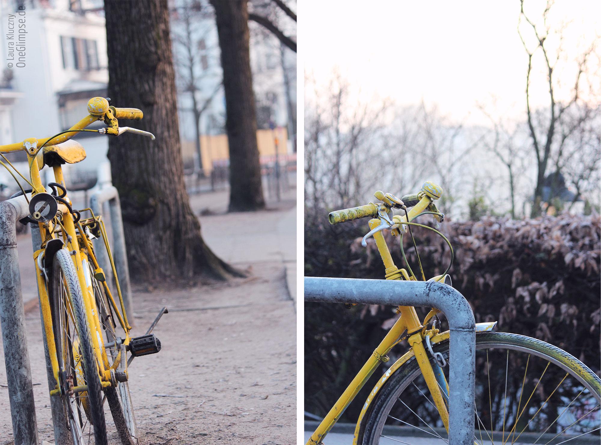 Hamburg an der Alster: gelbes Fahrrad bei Frost